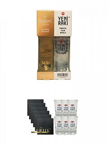 Yeni Raki 0,35 Liter + Tekirdag Raki Gold Türkei 0,35 Liter in Geschenkverpackung + Schiefer Glasuntersetzer eckig 6 x ca. 9,5 cm Durchmesser + Yeni Raki Shot Gläser 6er Set mit Eichstrich -