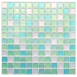 Yoillione 3D Fliesenaufkleber Mosaik Bad Fliesenfolie Küche Selbstklebende 3D Mosaik Fliesen Sticker Grün, Wasserdicht Fliesensticker Aufkleber Fliesen Folie für Badezimmer Wohnzimmer, 4er Pack - 1