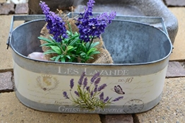 Zinktopf- Pflanztopf - Design Lavendel - für Blumen und Pflanzen - -Übertopf, Länge 28 cm