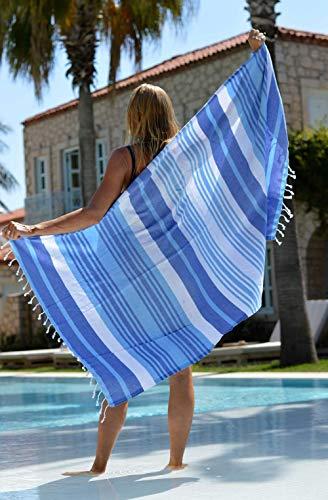 ZusenZomer Hamamtuch Melodi 100x170 Blau Weiß - Hamam Handtuch Badetuch Strandtuch 100% Baumwolle Handgewebt - Auch für Herren - Exclusives Design Hammam Strandtuecher - 2