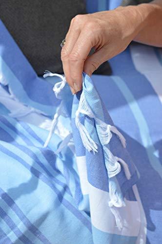 ZusenZomer Hamamtuch Melodi 100x170 Blau Weiß - Hamam Handtuch Badetuch Strandtuch 100% Baumwolle Handgewebt - Auch für Herren - Exclusives Design Hammam Strandtuecher - 3