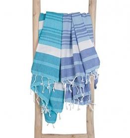 ZusenZomer Hamamtuch Melodi 100x170 Blau Weiß - Hamam Handtuch Badetuch Strandtuch 100% Baumwolle Handgewebt - Auch für Herren - Exclusives Design Hammam Strandtuecher - 1