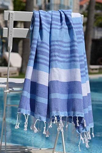 ZusenZomer Hamamtuch Melodi 100x170 Blau Weiß - Hamam Handtuch Badetuch Strandtuch 100% Baumwolle Handgewebt - Auch für Herren - Exclusives Design Hammam Strandtuecher - 4