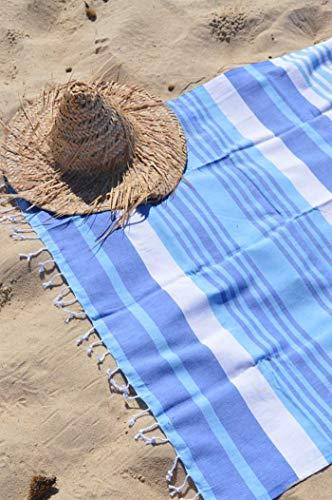 ZusenZomer Hamamtuch Melodi 100x170 Blau Weiß - Hamam Handtuch Badetuch Strandtuch 100% Baumwolle Handgewebt - Auch für Herren - Exclusives Design Hammam Strandtuecher - 5