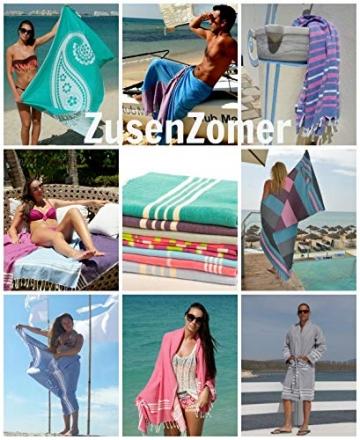 ZusenZomer Hamamtuch Melodi 100x170 Blau Weiß - Hamam Handtuch Badetuch Strandtuch 100% Baumwolle Handgewebt - Auch für Herren - Exclusives Design Hammam Strandtuecher - 7