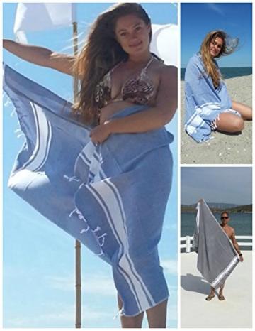 ZusenZomer Hamamtuch XXL Sol 100x200 Blau - Pestemal Hammam Badetuch Strandtuch Groß 100% Baumwolle Handgewebt - Hamam Tücher Exklusives Design - 2