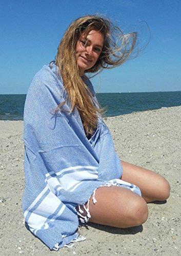 ZusenZomer Hamamtuch XXL Sol 100x200 Blau - Pestemal Hammam Badetuch Strandtuch Groß 100% Baumwolle Handgewebt - Hamam Tücher Exklusives Design - 3