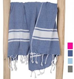 ZusenZomer Hamamtuch XXL Sol 100x200 Blau - Pestemal Hammam Badetuch Strandtuch Groß 100% Baumwolle Handgewebt - Hamam Tücher Exklusives Design - 1