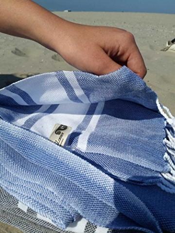 ZusenZomer Hamamtuch XXL Sol 100x200 Blau - Pestemal Hammam Badetuch Strandtuch Groß 100% Baumwolle Handgewebt - Hamam Tücher Exklusives Design - 4