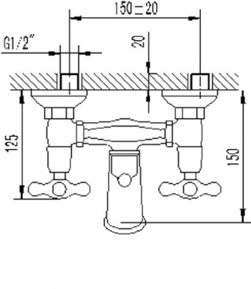 Zweigriffmischer Athenas für Wanne inklusive Brausegarnitur | Chrom | Wasserhahn | Badewannenarmatur | Wannenbatterie - 3