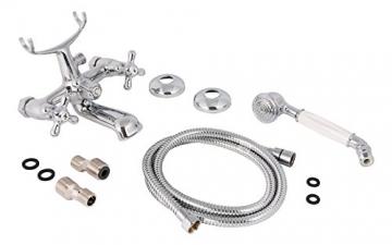 Zweigriffmischer Athenas für Wanne inklusive Brausegarnitur | Chrom | Wasserhahn | Badewannenarmatur | Wannenbatterie - 4
